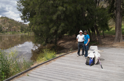 eld work along Murrumbidgee River at Casuarina Sands Reserve with David Yeates (left) and Brian Lessard (right).